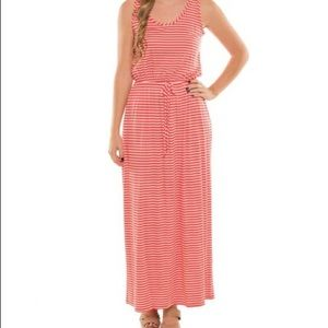 Coveted Clothing Coral Stripe Tie-Waist Maxi Dress